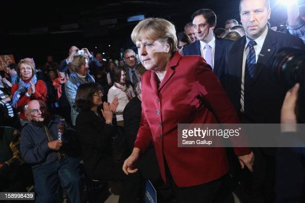 German Chancellor and Chairwoman of the German Christian Democrats Angela Merkel arrives with Lower Saxony Governor and CDU incumbent candidate David...