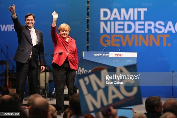 German Chancellor and Chairwoman of the German Christian Democrats Angela Merkel and Lower Saxony Governor and CDU incumbent candidate David...