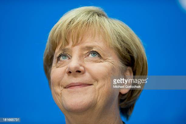 German Chancellor and Chairwoman of the German Christian Democrats Angela Merkel during a press conference at CDU headquarters on September 23 2013...