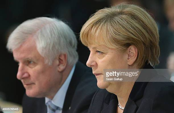 German Chancellor and Chairwoman of the German Christian Democrats Angela Merkel and Horst Seehofer Chairman of the Bavarian Christian Democrats...