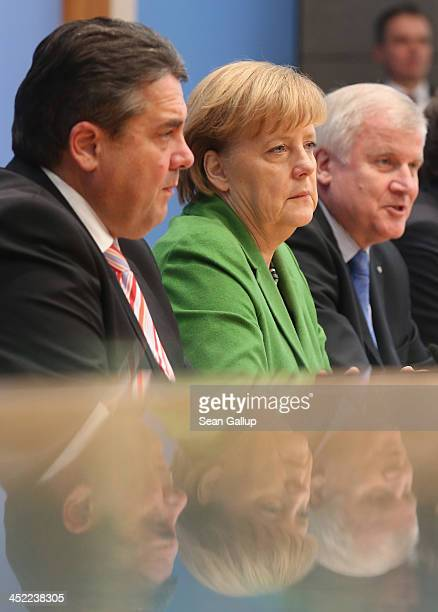 German Chancellor and Chairwoman of the German Christian Democrats Angela Merkel Chairman of the German Social Democrats Sigmar Gabriel and Chairman...