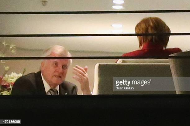 German Chancellor and Chairwoman of the German Christian Democrats Angela Merkel and Chairman of the Bavarian Christian Democrats Horst Seehofer meet...