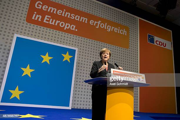German Chancellor and Chairwoman of the German Christian Democrats Angela Merkel speaks to party members at the CDU federal congress on April 5 2014...