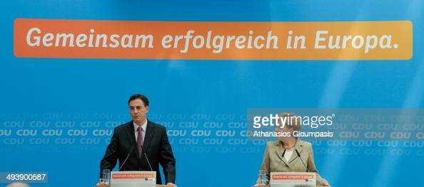 German Chancellor and Chairwoman of the German Christian Democrats Angela Merkel and the top candidate of the CDU in European parliamentary elections...
