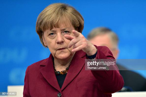 German Chancellor and Chairwoman of the German Christian Democrats Angela Merkel pictured at the annual CDU federal congress on December 15 2015 in...
