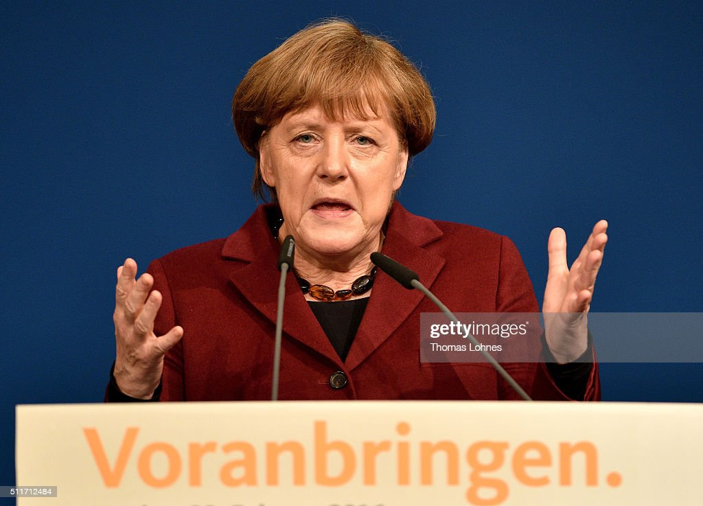 German Chancellor and Chairwoman of the German Christian Democrats (CDU) Angela Merkel speaks at an election campaign rally for CDU lead candidate for Rhineland-Palatinate Julia Kloeckner on February 22, 2016 in Landau in der Pfalz, Germany. State elections scheduled for March 13 in three German states: Rhineland-Palatinate, Saxony-Anhalt and Baden-Wuerttemberg, will be a crucial test-case for German Chancellor and Chairwoman of the German Christian Democrats (CDU) Angela Merkel, who has come under increasing pressure over her liberal immigration policy towards migrants and refugees. The right-wing Alternative fuer Deutschland (AfD), with campaign rhetoric aimed at Germans who are uneasy with so many newcomers, has solid polling numbers and will almost certainly win seats in all three state parliaments.