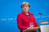 German Chancellor and Chairwoman of the German Christian Democrats Angela Merkel prepares to speak to the media following elections in three German...