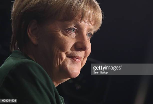 German Chancellor and Chairwoman of the German Christian Democrats Angela Merkel gives a television interview at the conclusion of the 29th federal...