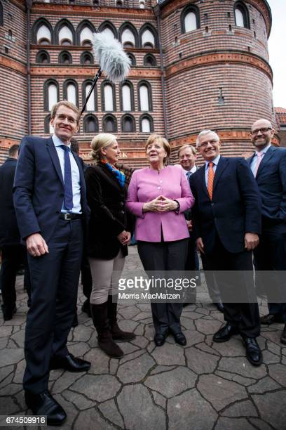 German Chancellor and Chairwoman of the German Christian Democrats Angela Merkel local CDU lead candidate Daniel Guenther CDU General Secretary Peter...