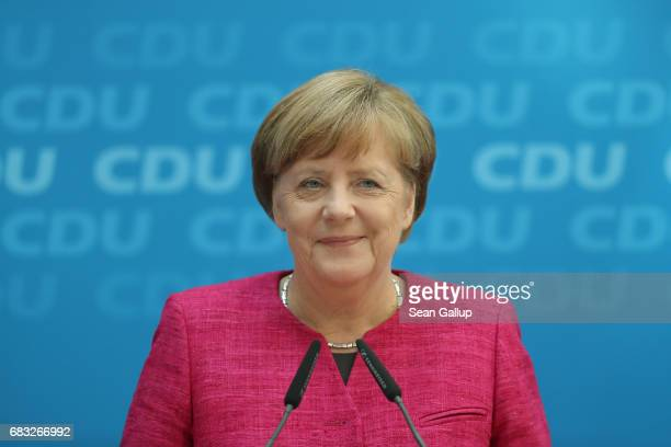 German Chancellor and Chairwoman of the German Christian Democrats Angela Merkel speaks to the media the day after the state election in North...