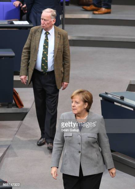 German Chancellor and Christian Democrat Angela Merkel and Alexander Gauland of the rightwing Alternative for Germany pass near one another at the...