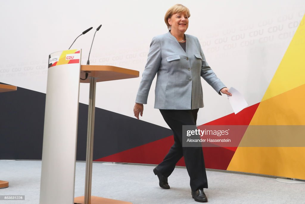 German Chancellor and Christian Democrat (CDU) Angela Merkel arrives at CDU headquater to speak to the media the day after the CDU won 32.9% of the vote and a first place finish in yesterdays German federal elections on September 25, 2017 in Berlin, Germany. The CDU win, which guarantees Merkel a fourth term as chancellor, is marred by the third-place finish of the right-wing Alternative for Germany (AfD), with 12.6%. The AfD will be represented by 94 parliamentarians, the first time in post-World War II German history that a right-wing, nationalist party has made it to the Bundestag.