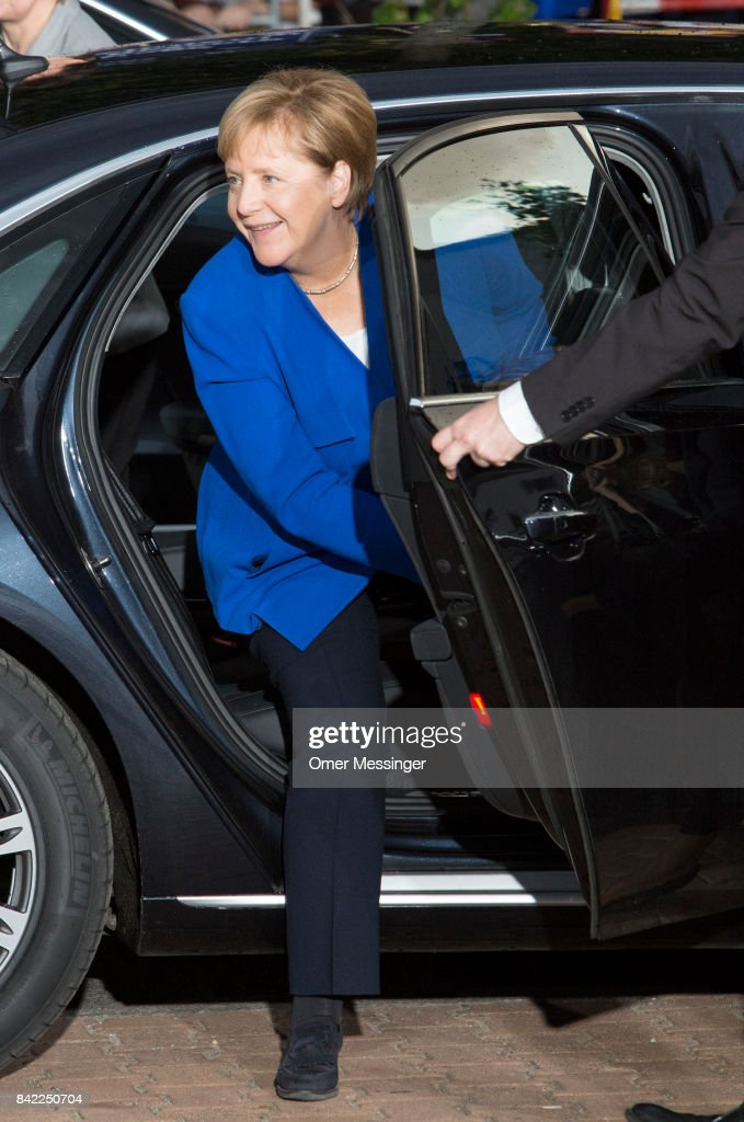 German Chancellor and Christian Democrat (CDU) Angela Merkel is seen arriving at Adlershof television studios to attend the live television debate with German Social Democrat (SPD) and chancellor candidate Martin Schulz, on September 3, 2017 in Berlin, Germany. Germany will hold federal elections on September 24 and so far Merkel, who is seeking a fourth term, has a double-digit lead over Schulz.