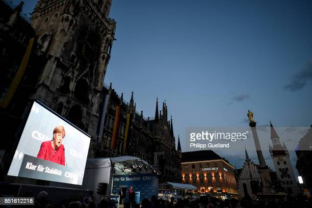 German Chancellor and Christian Democrat Angela Merkel speaks at her last big election campaign rally before German federal elections on September 22...