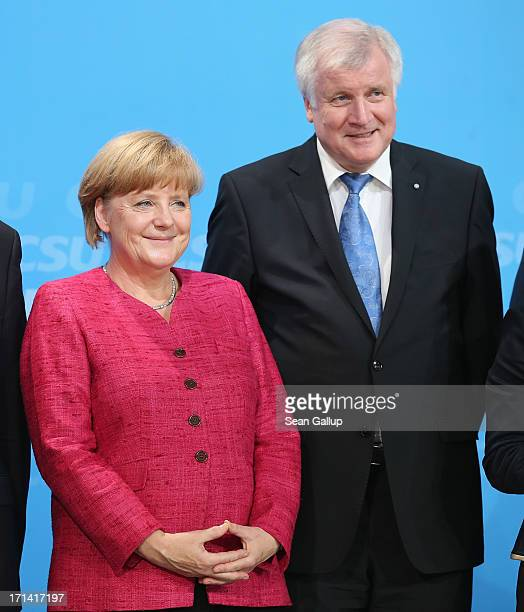 German Chancellor and German Christian Democratic Union Chairwoman Angela Merkel and Bavarian Christian Social Union Chairman Horst Seehofer receive...