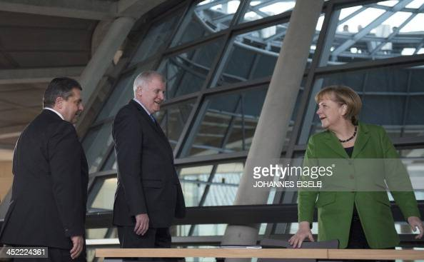German Chancellor and head of Christian Democratic Party Angela Merkel leader of CDU Bavarian allies Christian Social Union Horst Seehofer and head...