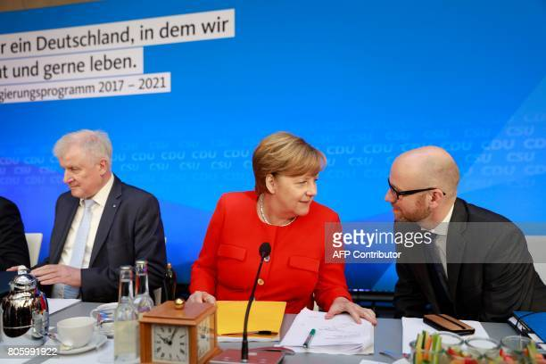 German Chancellor and head of the Christian Democrats party Angela Merkel Horst Seehofer leader of Bavarian sister Party CSU and CDU Secretary...