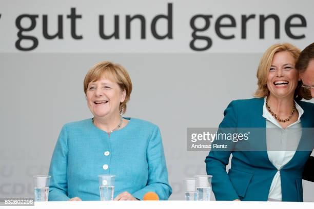 German Chancellor and head of the German Christian Democrats Angela Merkel and Chairman of CDU RheinlandPfalz Julia Kloeckner are seen on stage...