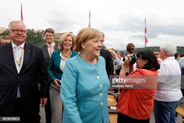 German Chancellor and head of the German Christian Democrats Angela Merkel arrives for an election rally at the headland known as the 'Deutsches Eck'...