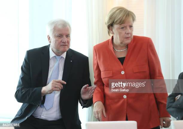 German Chancellor and head of the German Christian Democrats Angela Merkel and Bavarian Governor and head of the Bavarian Christian Democrats Horst...