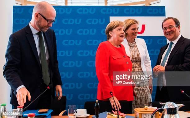 German Chancellor and leader of the CDU Angela Merkel CDU deputy chairs Julia Kloeckner and and Armin Laschet and CDU General Secretary Peter Tauber...