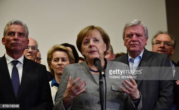 German Chancellor and leader of the Christian Democratic Union party Angela Merkel speaks after exploratory talks on forming a new government broke...