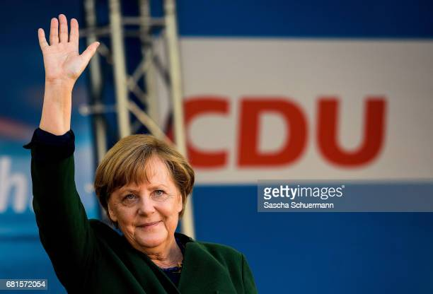 German Chancellor and leader of the German Christian Democrats Angela Merkel during campaigning for the CDU ahead of state elections in North...