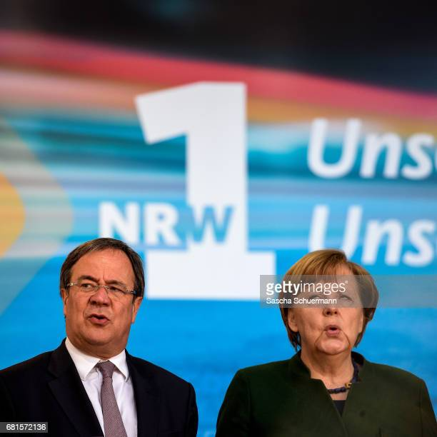 German Chancellor and leader of the German Christian Democrats Angela Merkel and lead CDU candidate Armin Lachet during campaigning for the CDU ahead...