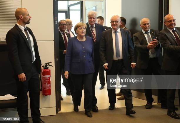 German Chancellor and leader of the German Christian Democrats Angela Merkel Bavarian Governor and leader of the Bavarian Christian Democrats Horst...