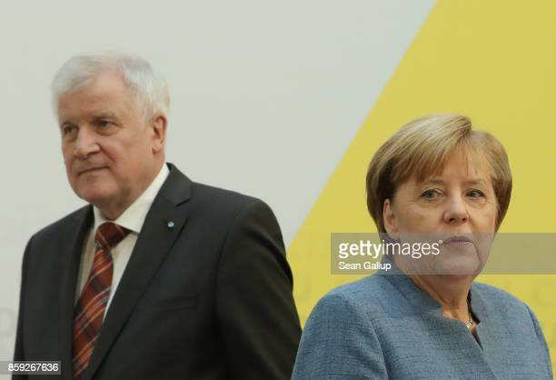 German Chancellor and leader of the German Christian Democrats Angela Merkel and Bavarian Governor and leader of the Bavarian Christian Democrats...