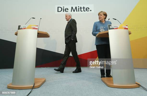 German Chancellor and leader of the German Christian Democrats Angela Merkel and Bavarian Governor and leader of the Bavarian Christian Democrats...
