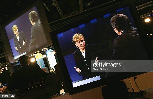 German Chancellor and Social Democrat Gerhard Schroeder and chancellor candidate Angela Merkel of the German Christian Democrats the CDU face off in...