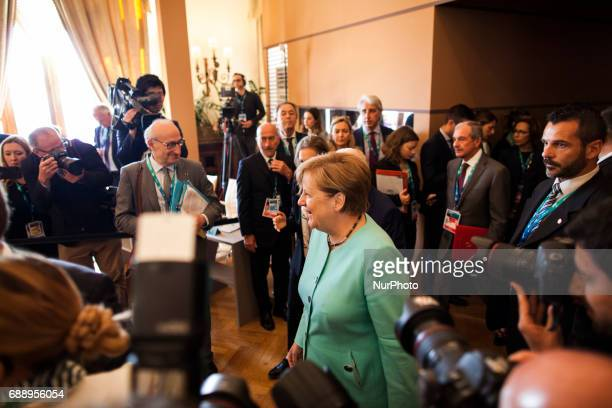 German Chancellor Angeka Merkel arrives at the G7 Summit expanded session in Taormina Sicily on May 27 2017