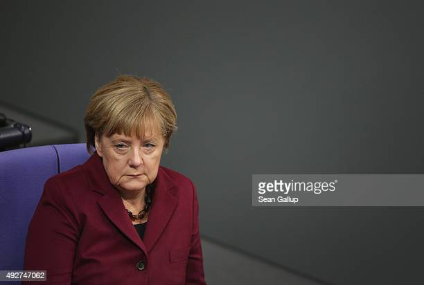 German Chancellor Angel Merkel attends debates at the Bundestag that centered on Germany's refugee policy on October 15 2015 in Berlin Germany Merkel...