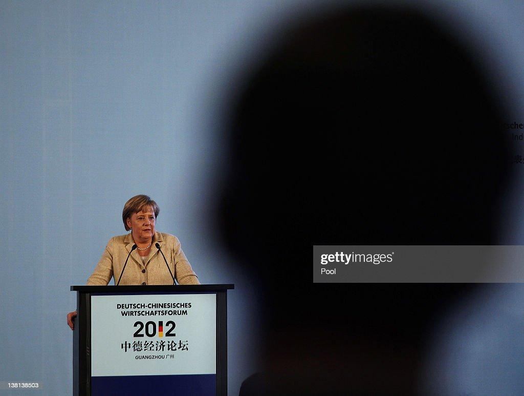 German Chancellor Angela Merkel addresses a GermanChinese economic forum during their visit to Guangzhou on February 3 2012 in Guangzhou China German...