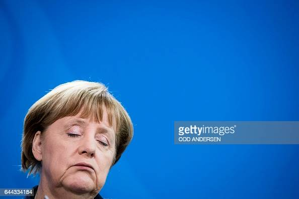 TOPSHOT German Chancellor Angela Merkel addresses a press conference with Lithuanian Prime Minister Saulius Skvernelis following a meeting at the...