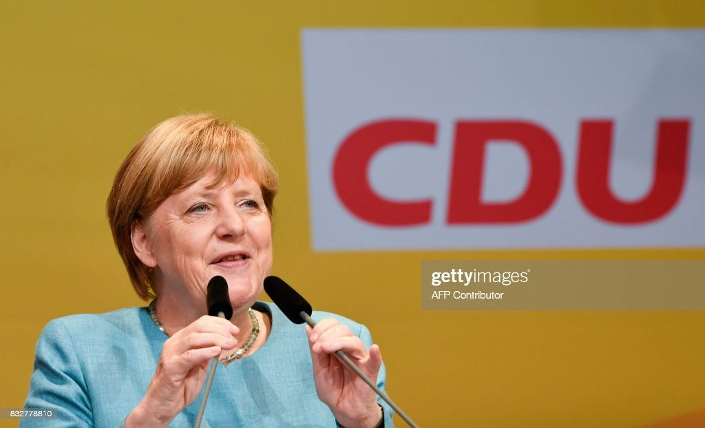 German Chancellor Angela Merkel addresses an election campaign rally of the Christian Democratic Union (CDU) in Heilbronn, southern Germany on August 16, 2017. /