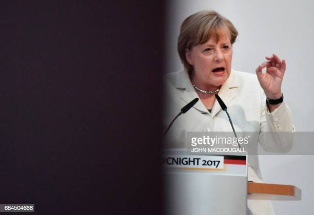 German Chancellor Angela Merkel addresses guests at the #cnight event under the motto 'Thinking Beyond successfully shaping digital change' at the...