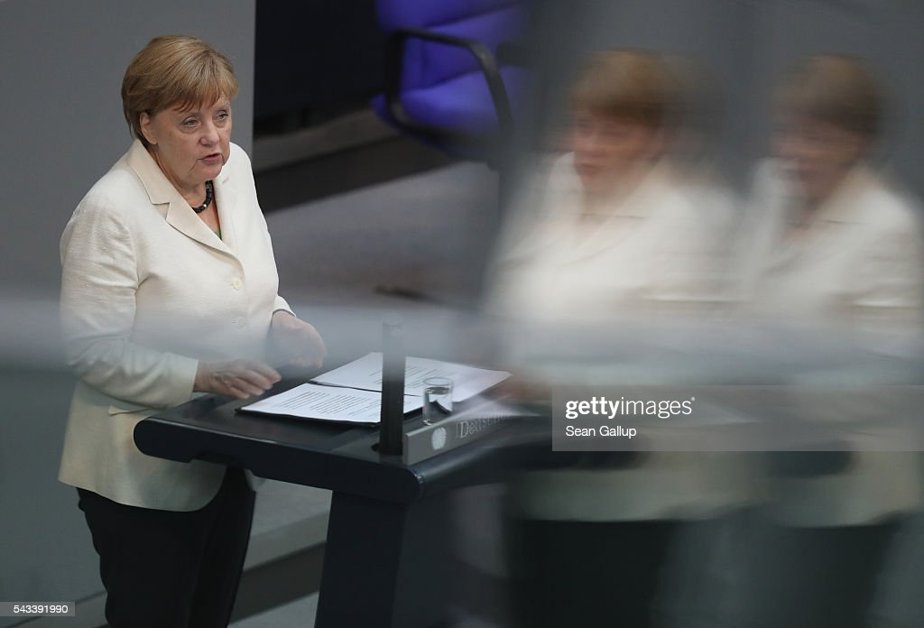 German Chancellor <a gi-track='captionPersonalityLinkClicked' href=/galleries/search?phrase=Angela+Merkel&family=editorial&specificpeople=202161 ng-click='$event.stopPropagation()'>Angela Merkel</a> addresses the Bundestag with a government declaration on the recent Brexit vote on June 28, 2016 in Berlin, Germany. European leaders are scheduled to meet at a summit in Brussels later today to discuss the consequences of the British vote to leave the European Union. Merkel called the vote an unprecedented event in EU history but one the remaining 27 member states will weather.