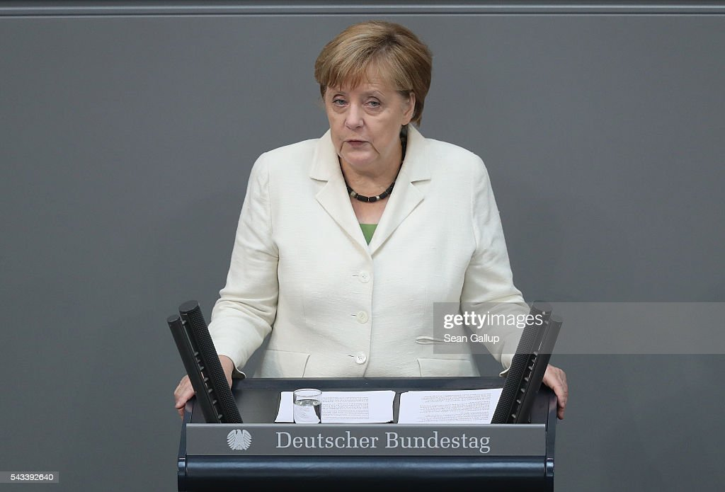 German Chancellor Angela Merkel addresses the Bundestag with a government declaration on the recent Brexit vote on June 28, 2016 in Berlin, Germany. European leaders are scheduled to meet at a summit in Brussels later today to discuss the consequences of the British vote to leave the European Union. Merkel called the vote an unprecedented event in EU history but one the remaining 27 member states will weather.