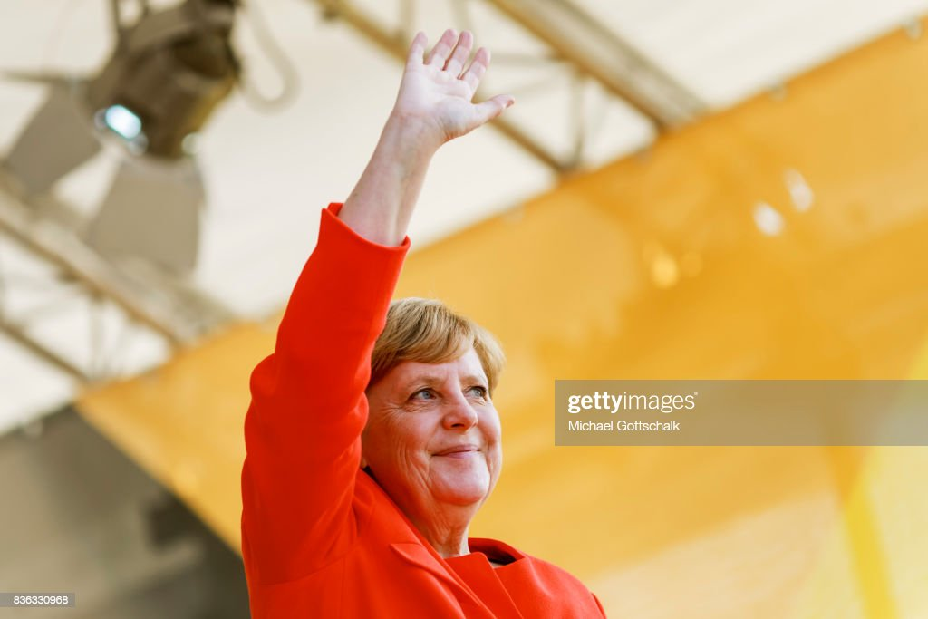 German Chancellor Angela Merkel adresses the audience during her election campaign for Bundestagswahl 2017 or Federal election 2017 on August 21, 2017 in Sankt Peter-Ording, Germany.