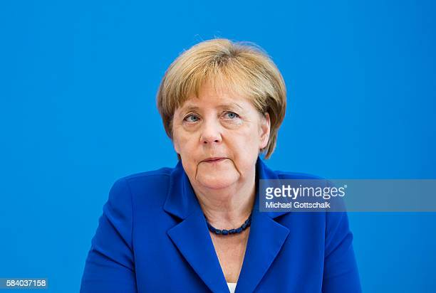 German Chancellor Angela Merkel adresses the media during her annual summer press conference in German Federal Press Conference or...