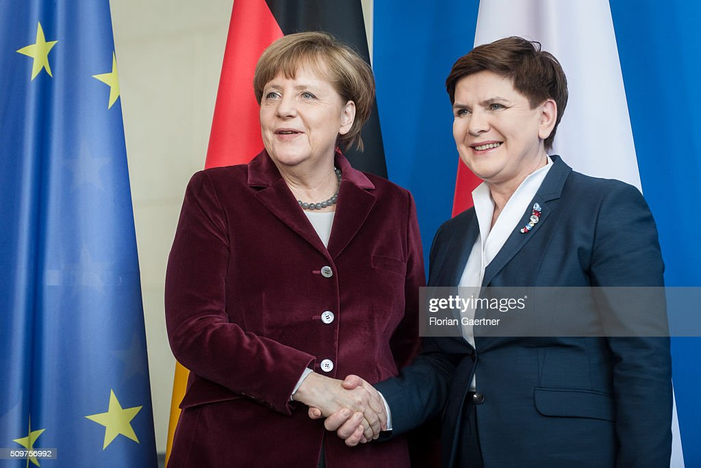 German Chancellor Angela Merkel after a press conference with Beata Szydlo, Prime Minister of Poland on February 12, 2016 in Berlin.