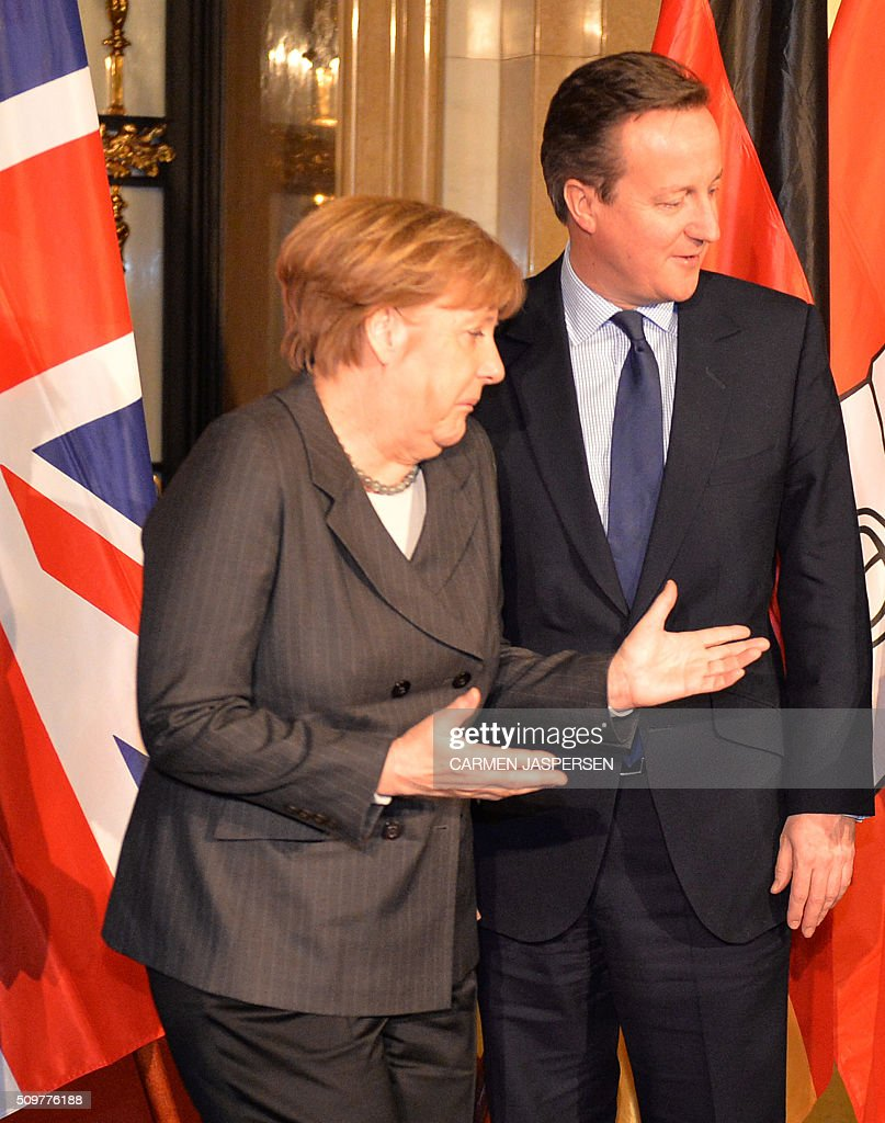 German Chancellor Angela Merkel and British Prime Minister David Cameron pose for a photo ahead of the Matthiae-Mahl Dinner in Hamburg, northern Germany on February 12, 2016. / AFP / CARMEN JASPERSEN