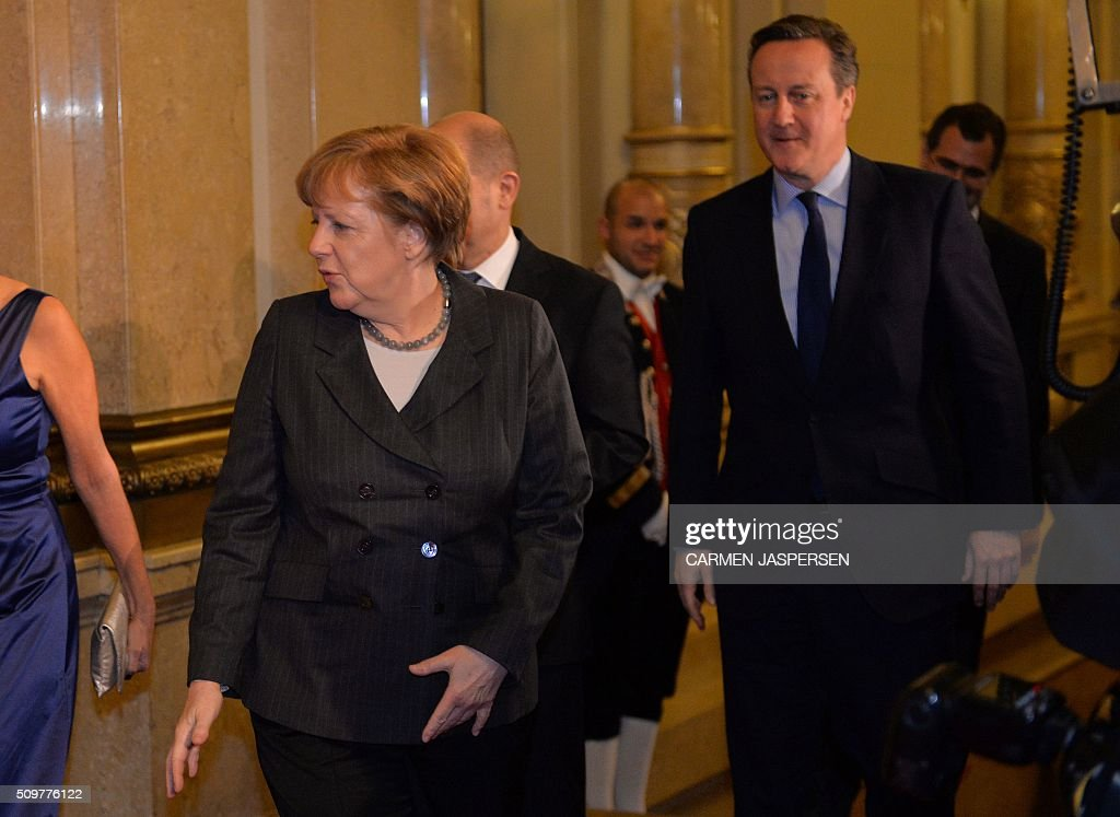 German Chancellor Angela Merkel and British Prime Minister David Cameron arrivre for the Matthiae-Mahl Dinner attended in Hamburg, northern Germany on February 12, 2016. / AFP / CARMEN JASPERSEN