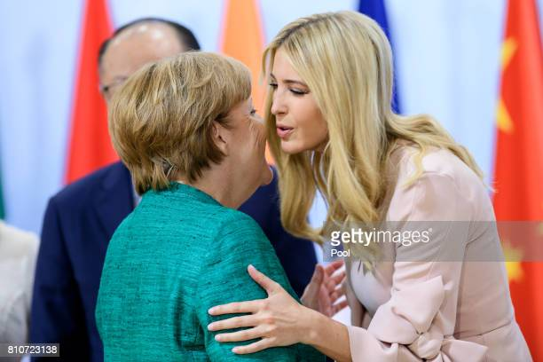 German Chancellor Angela Merkel and Daughter and advisor to US President Trump Ivanka Trump attend a panel discussion titled 'Launch Event Women's...