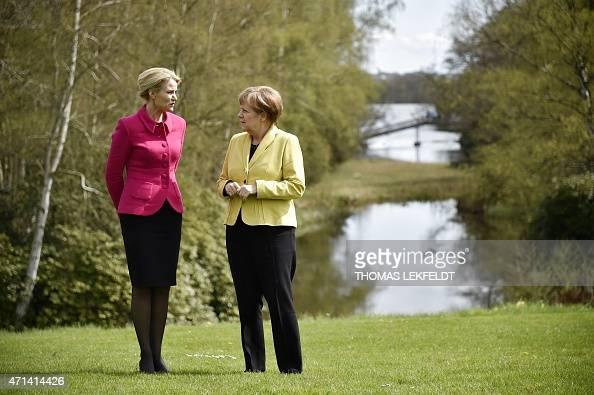 German Chancellor Angela Merkel and Denmark's Prime Minister Helle ThorningSchmidt meet at the Danish Prime Minister's official residence Marienborg...