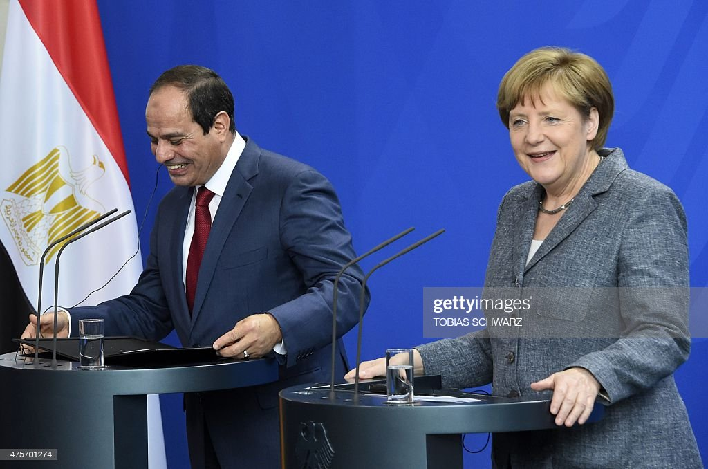 German Chancellor Angela Merkel and Egyptian President Abdel Fattah alSisi attend a press conference on June 3 2015 at the Chancellery in Berlin AFP...