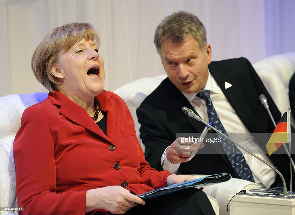 German Chancellor <a gi-track='captionPersonalityLinkClicked' href=/galleries/search?phrase=Angela+Merkel&family=editorial&specificpeople=202161 ng-click='$event.stopPropagation()'>Angela Merkel</a> (L) and Finnish President Sauli Niinisto attend an informal meeting during the Nuclear Security Summit (NSS) on March 25, 2014. in The Hague, the Netherlands. Leaders from around the world have come to discuss matters related to international nuclear security, though the summit is overshadowed by recent events in Ukraine.