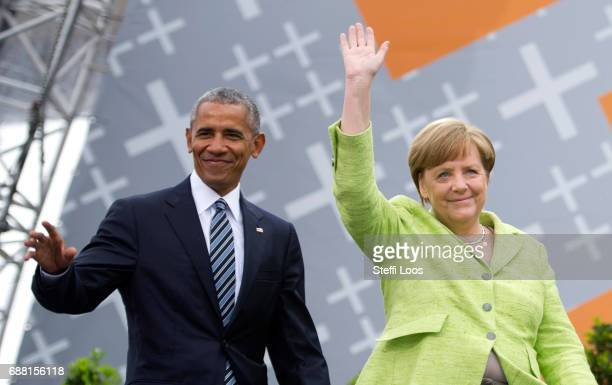German Chancellor Angela Merkel and former President of the United States of America Barack Obama arrive for a discussion on democracy at Church...
